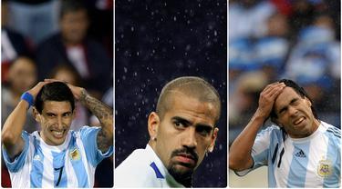 Manchester United sepertinya tidak berjodoh dengan pemain asal Argentina, sejarah mencatat sangat sedikit pemain Argentina yang bernasib baik saat bergabung dengan Setan Merah. Berikut ini 6 pemain Argentina yang merumput di Old Trafford. (Kolase foto AFP)