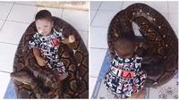Balita yang bermain dengan ular (Sumber: Twitter/hati2dimedsos)