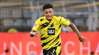 15. Jadon Sancho (Borussia Dortmund) - Penampilannya bersama Borussia Dortmund membuat pemain asal Inggris ini menjadi rebutan sejumlah klub raksasa Eropa. Jadon Sancho tercatat telah mengoleksi 30 gol dan 39 assist dari 80 laganya di kompetisi Liga Jerman. (AFP/Ina Fassbender)