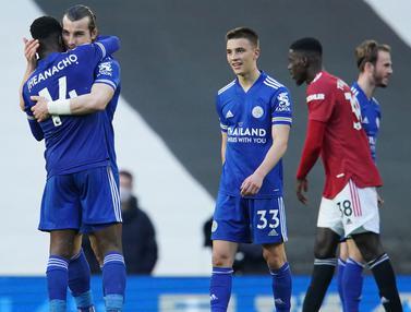 FOTO: Tumbang 1-2 dari Leicester City, Manchester United Relakan Tetangga Berpesta - Caglar Soyuncu; Tim Leicester City