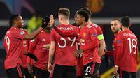Manchester United meraih kemenangan 5-0 atas RB Leipzig pada laga kedua Grup H Liga Champions di Old Trafford, Kamis (29/10/2020) dini hari WIB. (AFP/Anthony Devlin)