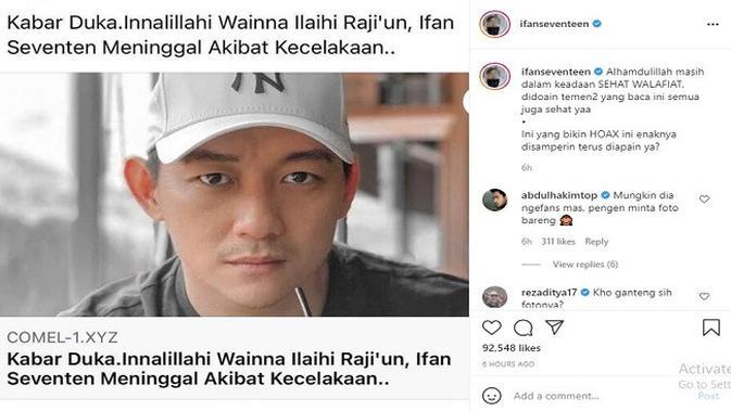 Gambar Tangkapan Layar Unggahan dari Akun Instagram @ifanseventeen.