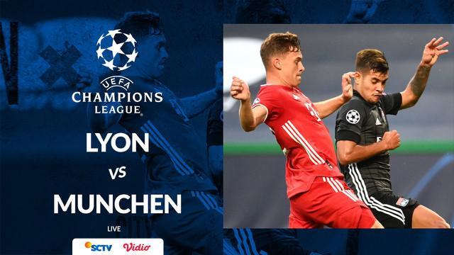 Berita motion grafis statistik Olympique Lyon vs Bayern Munchen pada semifinal Liga Champions 2019-2020. Dua gol Bayern Munchen dicetak Serge Gnabry dan satu oleh Robert Lewandowski.