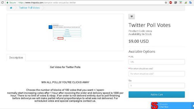 Shopatia, layanan untuk memanipulasi polling Twitter. Liputan6.com/ Mochamad Wahyu Hidayat