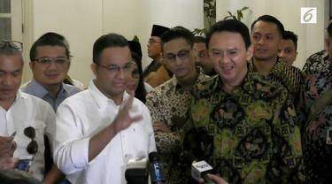 Gubernur DKI Jakarta Basuki Tjahaja Purnama alias Ahok bertemu dengan Anies Baswedan di Balai Kota DKI Jakarta. Dalam pertemuan tersebut keduanya sepakat merekonsiliasi pendukung mereka masing-masing.