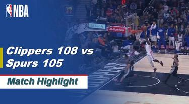 Berita Video Highlights NBA 2019-2020, LA Clippers Vs San Antonio Spurs 108-105