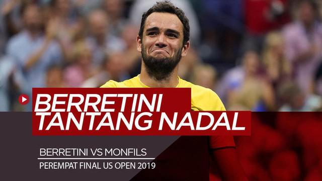 Berita Video Menang 5 Set atas Monfils, Berrettini Tantang Rafael Nadal di Semifinal AS Terbuka 2019