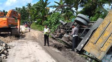 Kecelakaan tunggal di ruas jalan Desa Niampak, Beo Selatan, Kabupaten Kepulauan Talaud, Sulut.