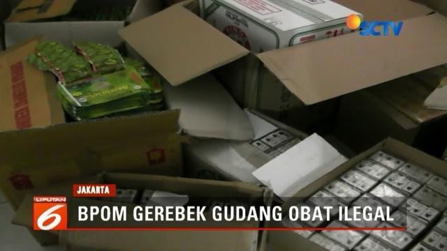 Badan Pengawasan Obat dan Makanan (BPOM) menggerebek dua rumah tinggal yang merangkap gudang penyimpanan obat tradisional ilegal di dua tempat di Jakarta.