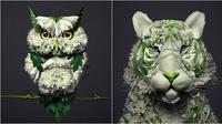 Burung hantu dan harimau yang dibentuk dari bunga dan daun. (Sumber: Instagram/reikan_creations)