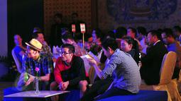 Pebulu tangkis mancanegara yang akan berlaga di turnamen BCA Indonesia Open Superseries Premier 2015 hadir dalam welcome dinner, di Jakarta, Senin (1/6). Indonesia Open akan berlangsung di Istora Gelora Bung Karno, 2-7 Juni. (Liputan6.com/Yoppy Renato)
