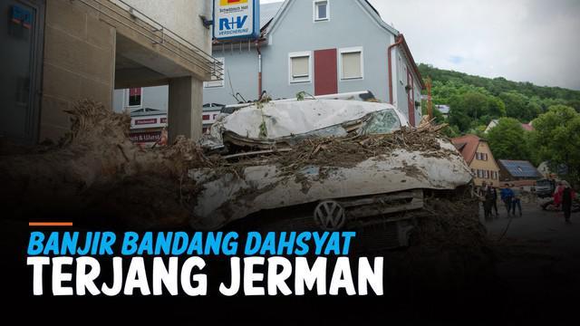 Bencana banjir bandang melanda kawasan Jerman bagian barat hari Kamis (15/7). Musibah yang dipicu luapan sungai ini menewasakan puluhan warga setempat