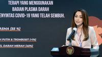 Juru Bicara Satgas Penanganan COVID-19 Reisa Broto Asmoro menyebut penggunaan terapi plasma convalescent mendukung kesembuhan pasien COVID-19 saat konferensi pers di Kantor Presiden, Jakarta, Senin (21/9/2020). (Biro Pers Sekretariat Presiden/Kris)