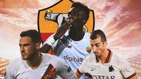 AS Roma - Jordan Veretout, Tammy Abraham, Henrikh Mkhitaryan (Bola.com/Adreanus Titus)