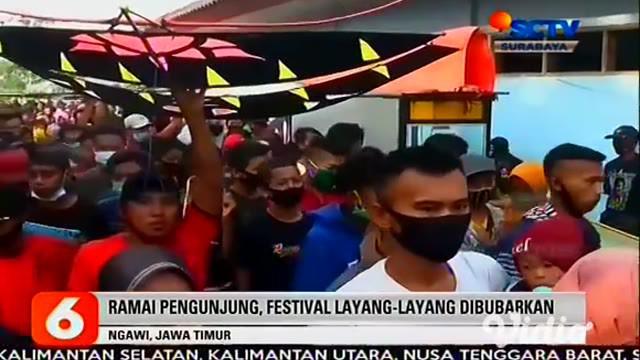 Polisi membubarkan Festival Layang-Layang yang digelar Komunitas Pecinta Layang-Layang di Ngawi, Jawa Timur. Selain tidak mengantongi izin, acara tersebut juga mengakibatkan kerumunan warga.