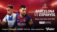 Laga Barcelona versus Espanyol bisa disaksikan di aplikasi dan situs streaming Vidio. (Sumber: Vidio)