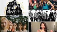 Ilustrasi K-Pop (SM / Big Hit/ YG via Soompi, Instagram/ dlwlrma)