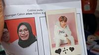 Bawaslu menemukan hal unik di Pilkada 2020, salah satunya ada foto artis Korea yang ditempelkan dalam surat suara pasangan calon tunggal. (Foto: Dokumentasi Bawaslu).