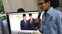 Badan Pemenangan Nasional meluncurkan website Prabowo-Sandi di media center Jalan Sriwijaya I No 35, Kebayoran Baru, Jakarta Selatan. (Liputan6.com/Lizsa Egeham)