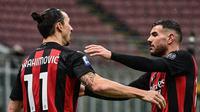 Zlatan Ibrahimovic rayakan gol ke-500 di kariernya saat AC Milan kalahkan Crotone di Liga Italia (Miguel Medina/AFP)