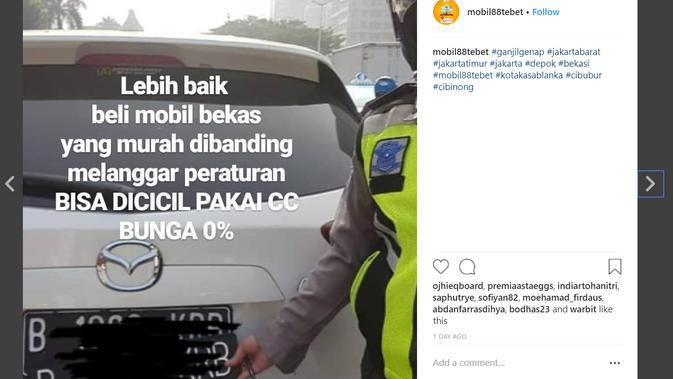 Meme ganjil genap (Foto: Instagram @mobil88tebet)