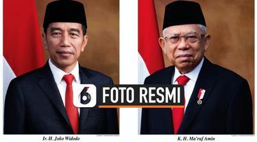 Kementerian Sekretariat Negara menerbitkan foto resmi Presiden dan Wakil Presiden Republik Indonesia periode 2019-2024, Joko Widodo atau Jokowi dan Ma'ruf Amin.
