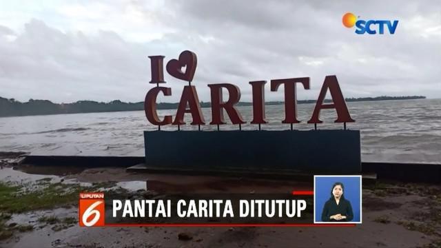 Pasca tsunami, kawasan wisata Pantai Carita akhirnya ditutup. Pemerintah setempat menutup kawasan tersebut sampai BMKG menyatakan situasi aman.