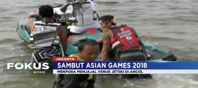 Jelang Asian Games, Menpora Imam Nahrawi jajal venue jetski di Ancol, Jakarta Utara.