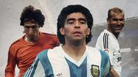 Johan Cruyff, Maradona dan Zinedine Zidane. (Bola.com/Dody Iryawan)