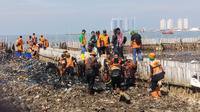 Petugas kebersihan mengangkat sampah dari Teluk Jakarta