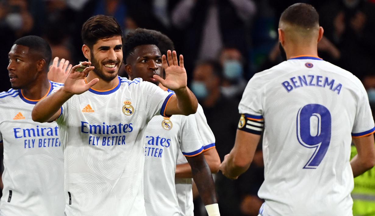 Real Madrid sukses menang besar dari Mallorca pada laga pekan keenam Liga Spanyol 2021/2022. (AFP/Gabriel Bouys)