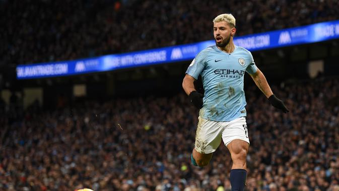 1. Sergio Aguero (Man City) - 18 gol dan 6 assist (AFP/Paul Ellis)