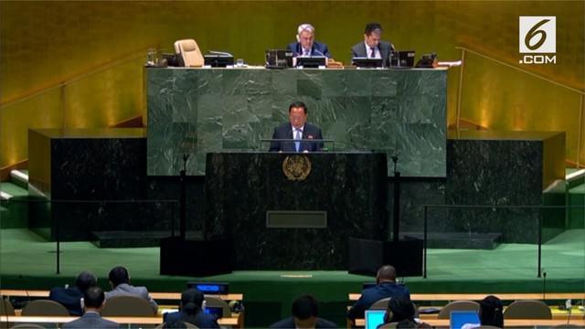 Menteri Luar Negeri Korea Utara mengatakan proses denuklirisasi tidak akan berlanjut jika Amerika Serikat terus menjatuhi negaranya dengan sanksi internasional.