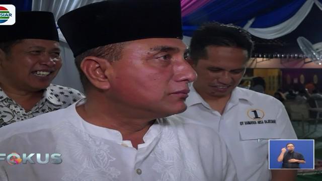 Calon Gubernur Sumut Edy Rahmayadi seusai berbuka puasa di rumahnya di Medan, Sumatera Utara, membantah informasi yang menyebutkan dirinya terkena stroke.