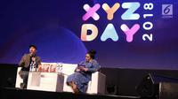Konten Kreator Raditya Dika menjadi pembicara selama XYZ DAY 2018 di Jakarta, Rabu (25/4). Acara ini bertujuan memberikan insight yang lebih mendalam tentang generasi X, Y, dan Z dari para ahli di bidangnya. (Liputan6.com/Herman Zakharia)