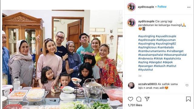 Ayu Ting Ting akrab bersama keluarga Adit Jayusman
