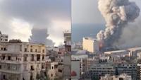 Banner Ledakan di Beirut Lebanon (Liputan6.com/Triyasni)