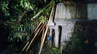 Pohon tumbang menimpa rumah di Cisarua, Kabupaten Bogor, Jawa Barat. (Liputan6.com/Bima Firmansyah)
