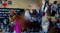 Dalam foto-foto ini sejumlah murid SD ikut berjoget mengikuti gerakan penari yang berbau pornoaksi.