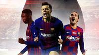 Barcelona FC - Ousmane Dembele, Philippe Coutinho, Antoine Griezmann, Ronald Koeman (Bola.com/Adreanus Titus)