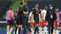 Atletico Madrid kalah dari RB Leipzig dalam pertandingan perempat final Liga Champions di stadion Jose Alvalade di Lisbon, Portugal, Kamis, 13 Agustus 2020. (Miguel A. Lopes / Pool Foto melalui AP)