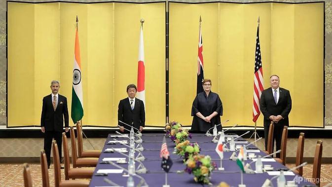 Pertemuan Quad Indo-Pasifik di Tokyo yang dihadiri oleh Menlu AS, Jepang, India dan Australia. (Foto: Kiyoshi Ota / Pool via AP)