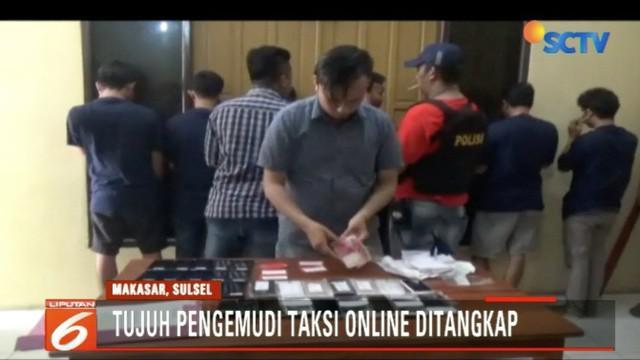 Para driver taksi online ini ditangkap Polsekta Rappocini, Makassar di sebuah tempat kos di Rappocini.