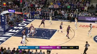 Stephen Curry mencetak 36 poin saat Warriors mendapatkan kemenangan atas Timberwolves, 117-107.
