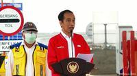 Presiden Jokowi meresmikan Jalan Tol Kayu Agung - Palembang - Betung Ruas Kayuagung - Palembang (Kramasan), di Kota Palembang, Selasa (26/1/2021).