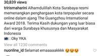 Surabaya menyabet gelar Kota Terpopuler (instagram @trirismaharini)