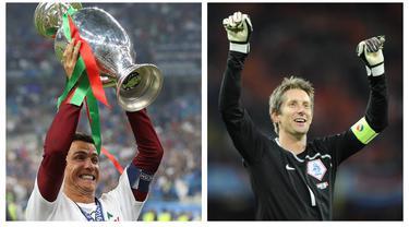 Ajang Euro atau Piala Eropa yang digelar serupa dengan Piala Dunia yaitu empat tahun sekali menjadi ajang konsistensi penampilan seorang pemain. Tidak mudah untuk mempertahankan konsistensi tersebut. Berikut 7 pemain yang sukses menjadi penampil terbanyak. (Kolase Foto AFP)