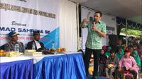 Anggota Komisi III DPR Ahmad Sahroni saat bertemu warga di Jakarta Utara. (Istimewa)