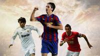 Ilustrasi - Kaka, Zlatan Ibrahimovic, Angel di Maria (Bola.com/Adreanus Titus)