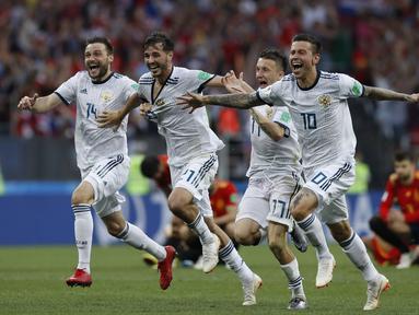 Setelah kalahkan Spanyol Rusia mencetak sejarah sebagai tuan yang menang lewat adu penalti. (AP/Manu Fernandez)